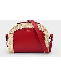 A.P.C. Demi Lune Mini Bag In Red Leather With Raffia