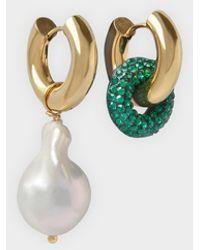 Timeless Pearly Boucles d'oreilles Crystal And Pearl avec Détail Vert et Blanc - Métallisé