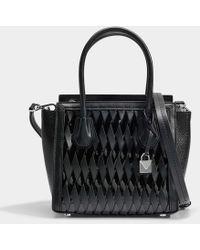 MICHAEL Michael Kors - Mercer Studio Medium Messenger Bag In Black Smooth Weave - Lyst