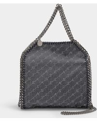 Stella McCartney Mini Falabella Tote In Navy Eco Monogram Denim - Blue