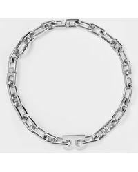 Balenciaga Collier B Chain Thin Neck en Laiton Argenté - Métallisé