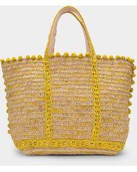 Vanessa Bruno Shopper Moyen + Bulles aus ecru-farbenem und gelbem Bast