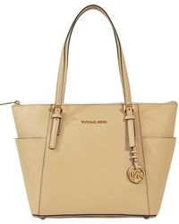 MICHAEL Michael Kors - Jet Set Item Ew Top Zipped Tote Bag In Oyster Saffiano Leather - Lyst