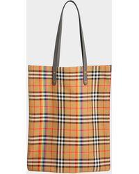 Burberry - Grand Sac Shopper en Coton Antique Yellow - Lyst