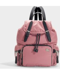 Burberry The Rucksack Medium Backpack In Mauve Pink Nylon