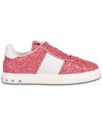 Fly Crex Glitter Sneakers in Shadow Pink Glitter and Calfskin Valentino bKxruz