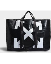 Off-White c/o Virgil Abloh Cabas Arrows en PVC Noir et Blanc
