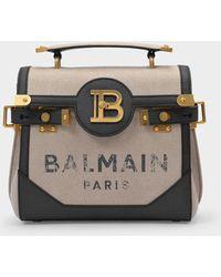 Balmain Handbag Bbuzz 23 In Canvas - Natural
