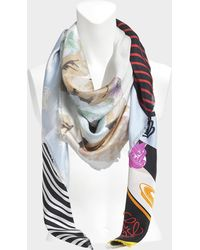 Loewe - 140x140 Patchwork All Scarf In Multicolour Washed Silk - Lyst
