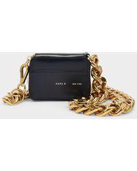 Kara Bike Wallet In Black Polished Calfskin With Gold Chain