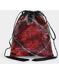 Attico - Full Sequins Tartan Pouch Bag In Red Silk And Sequins - Lyst