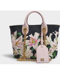 Dolce & Gabbana Capri Tote Bag In Lilium Printed Canvas - Black