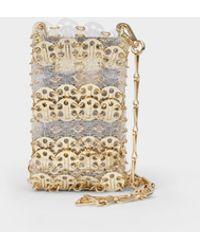 Paco Rabanne Sac Porte Epaule In Transparent Light Gold Brass - Metallic