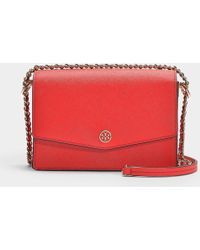 425888564366 Tory Burch  robinson  Double Zip Leather Crossbody Bag in Natural - Lyst