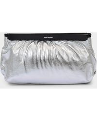 Isabel Marant Clutch Bag In Silver Leather - Metallic