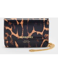 Burberry Jody Card Case In Leopard Printed Leather - Black