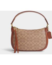 COACH Signature Coated Canvas Sutton Crossbody Bag In Brown Pvc