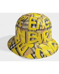 Burberry - Graffiti Print Vintage Check Bucket Hat In Bright Yellow And Beige Cotton - Lyst