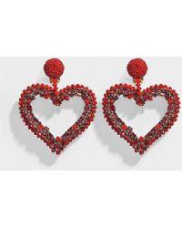 Oscar de la Renta - Jeweled Heart Clip Earrings In Cardinal - Lyst