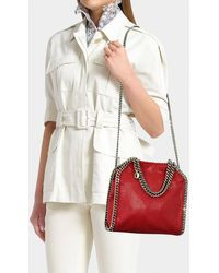 Stella McCartney - Mini Shaggy Deer Falabella Tote In Red Synthetic Material - Lyst