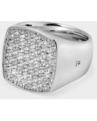 Tom Wood Pinkie Cushion Ring In Silver And White Topaz - Metallic