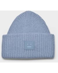 Acne Studios Pansy N Face Beanie In Mineral Blue Wool