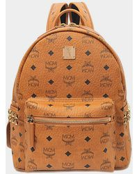 MCM Stark Small Backpack in Cognac Coated Canvas - Braun