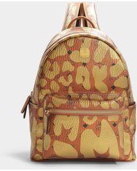 MCM - Stark Leopard Print Small Backpack In Cognac Printed Pvc - Lyst