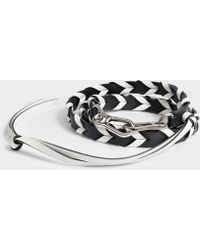 Loewe Braided Thin Bag Strap In Black And White Classic Calfskin