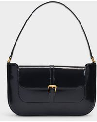 BY FAR Miranda Mini Semi-patent Leather Shoulder Bag - Black