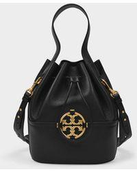 Tory Burch Miller Bucket Bag In Black Leather