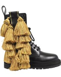 Burberry - Tassel Detail Leather Army Boots - Lyst