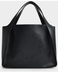 Stella McCartney Shopper Stella Logo aus Eco Leder schwarz
