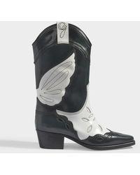 Ganni High Texas Zweifarbige Stiefel Aus Leder Mit Stickereien - Schwarz