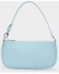 BY FAR Tasche Rachel aus blauem kroko-geprägtem Leder
