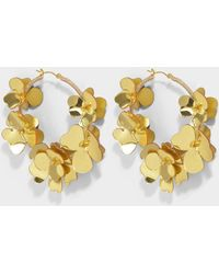 Oscar de la Renta - Flower Garden Hoop Earrings In Gold Synthetic - Lyst