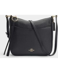 COACH - Polished Pebble Leather Chaise Crossbody Bag In Black Calfskin -  Lyst b967030d2e2c2