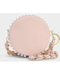 Mother Of Pearl - Rena Small Circle Bag In Pink Calfskin - Lyst