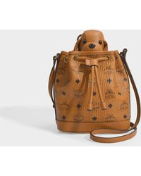 MCM Zoo Small Dog Drawstring Bag In Cognac Coated Canvas - Brown