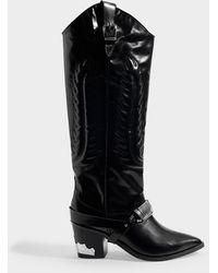 Toga - Western Boots In Black Leather - Lyst