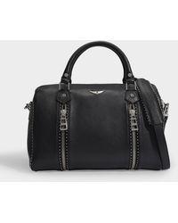 Zadig & Voltaire Tasche Sunny Medium aus gegerbtem schwarzem Leder mit Nieten