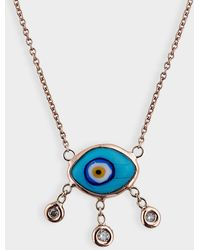Jacquie Aiche - Marquise Eye 3 Diamond Drop Necklace In 14k Rose Gold - Lyst