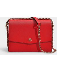 f823789d2b77 Tory Burch - Robinson Convertible Shoulder Bag In Brilliant Red Calfskin -  Lyst