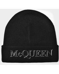 Alexander McQueen Bonnet McQueen en Laine Beige - Noir