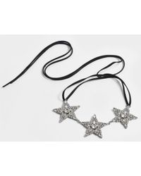 Helene Zubeldia - Ribbon Choker Necklace With Crystal Stars In Ruthenium And Crystals - Lyst