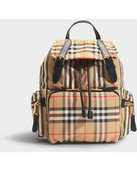 Burberry The Rucksack Medium Backpack In Beige Heritage Stripe Nylon - Natural