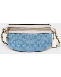 COACH Sac Belt Bag en Toile Denim - Bleu
