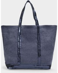 Vanessa Bruno Medium ++ Tote Bag In Denim Blue Linen