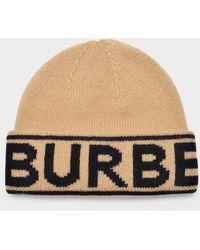 Burberry - Bonnet Cash en Cachemire Beige - Lyst