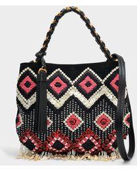 ef27f25ac03a Tory Burch - Brooke Embellished Small Hobo Bag In Black Calfskin - Lyst